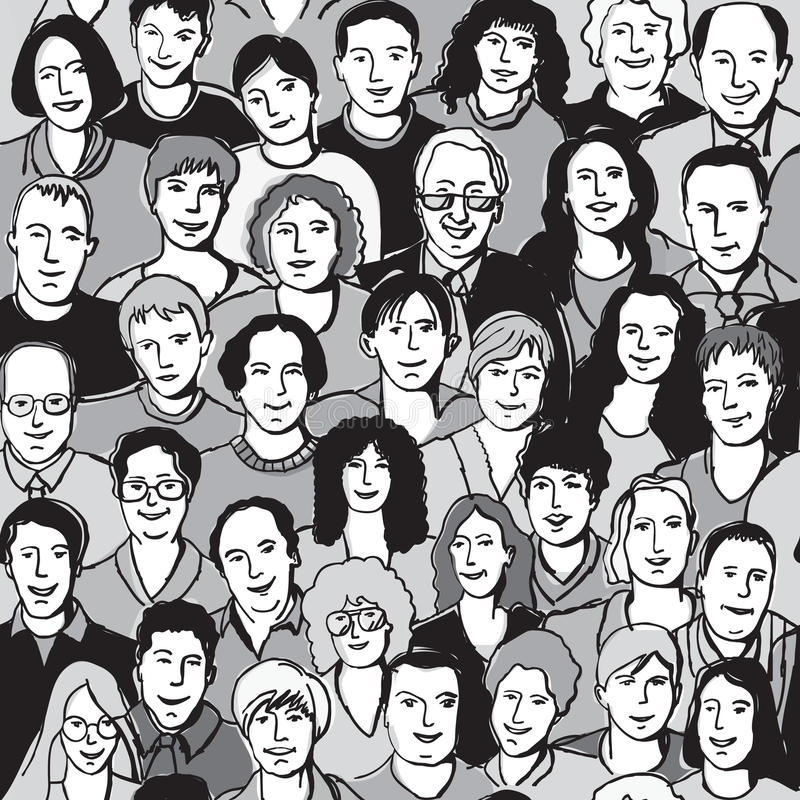 Bezszwowi deseniowi unrecognizable ludzie twarzy w tłumu royalty ilustracja