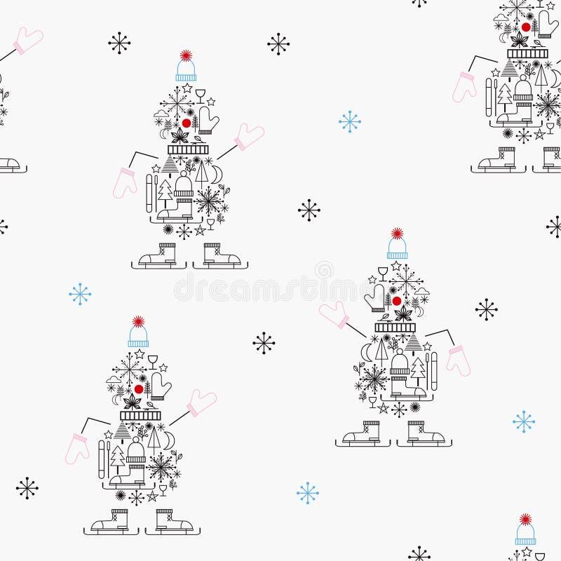 Bezszwowi deseniowi Wesoło boże narodzenia 2019 z zimy ikoną i Szczęśliwy nowy rok tworzą ślicznego bałwanu wektor ilustracja wektor