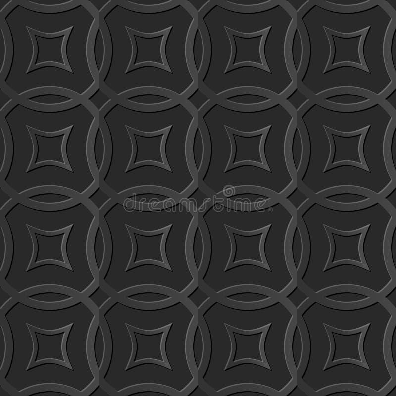 Bezszwowi eleganccy 043 3D zmroku papieru sztuki wzoru krzyża Round rama ilustracji