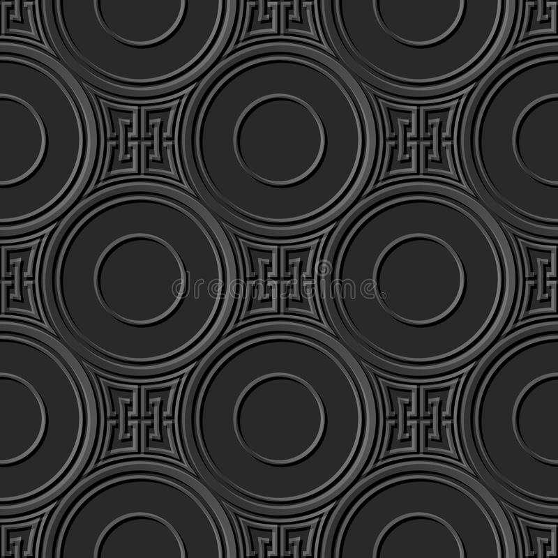 Bezszwowi eleganccy 016 3D zmroku papieru sztuki wzoru kwadrata krzyża Round łańcuch ilustracja wektor