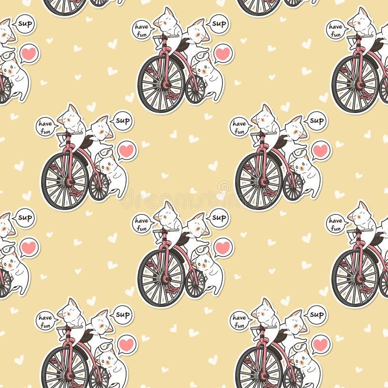 Bezszwowi kawaii koty z rocznika bicyklu wzorem ilustracja wektor