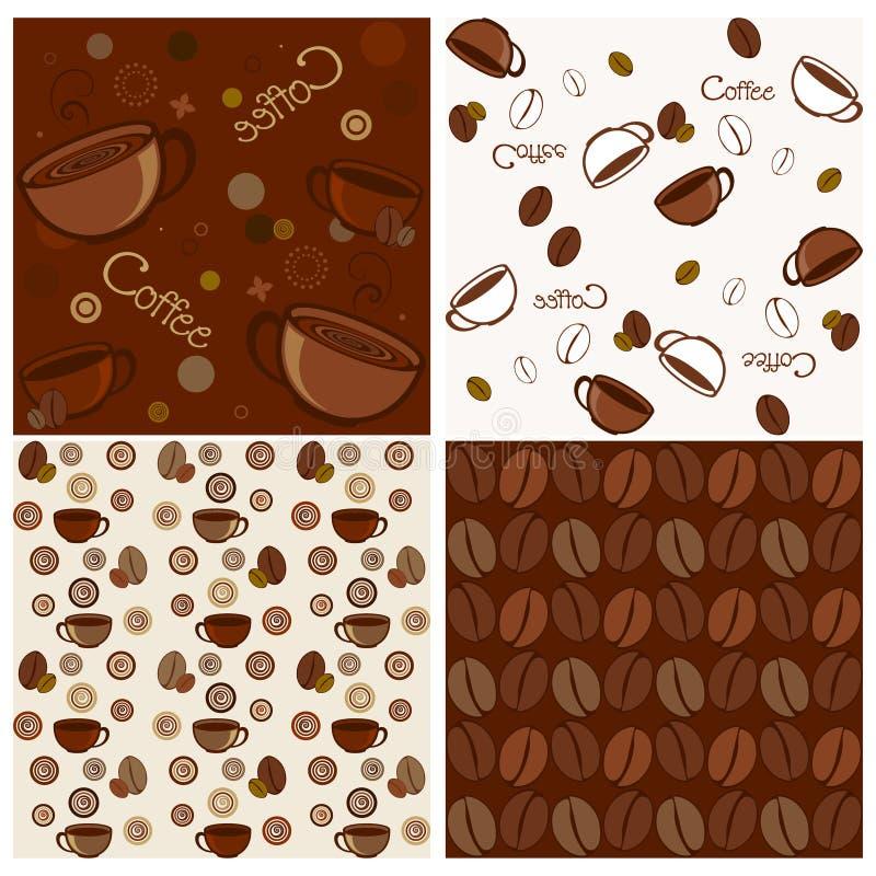 bezszwowi kawowi wzory ilustracja wektor