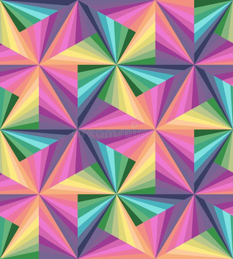 Bezszwowi kolorowi lampasy Poligonalny wzór Tęcza Geometryczna obraz royalty free