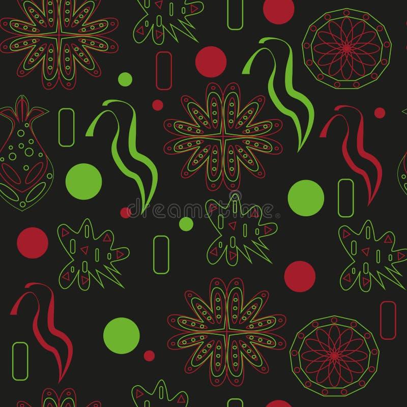 Bezszwowi kwiaty malujący tło zmroku doodles royalty ilustracja