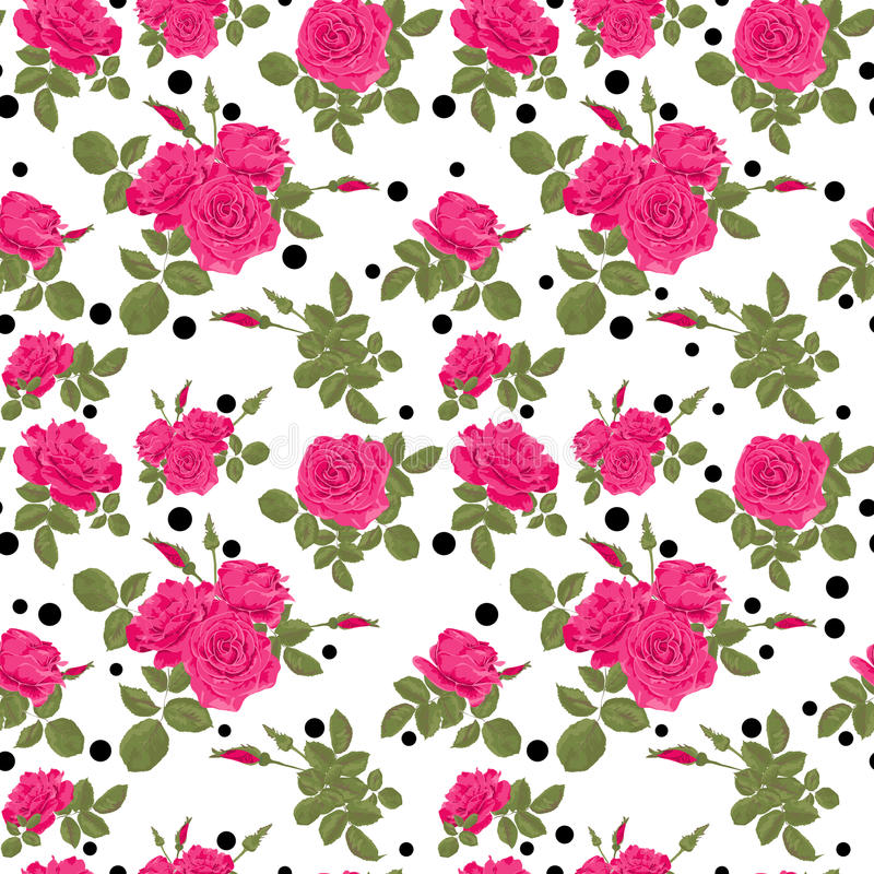 Bezszwowi kwiaty różowy róża wzór z czerni kropkami, okręgi ilustracji