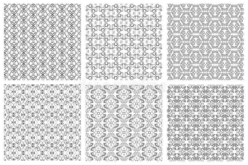Bezszwowi kwieciści wzory w wiktoriański antykwarskim eleganckim stylu na białym tle royalty ilustracja