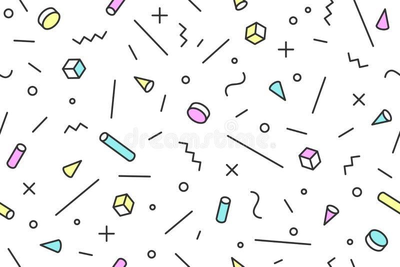 Bezszwowi mephis grafiki wzoru 80s-90s modni style ilustracji