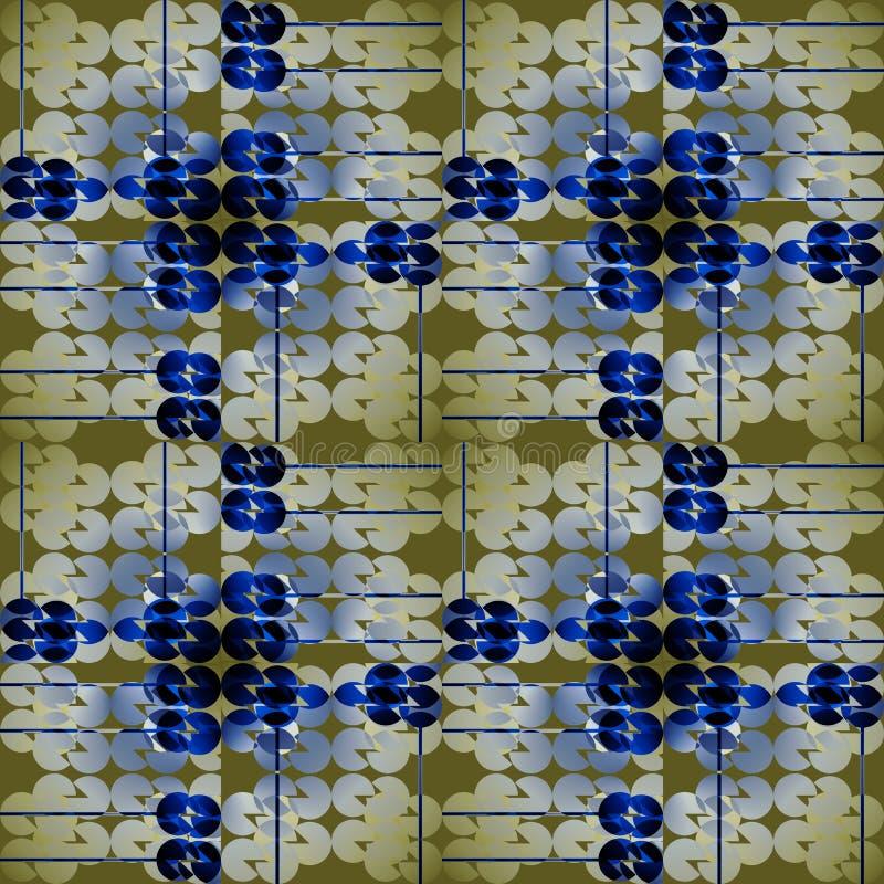 Bezszwowi miarowi okręgi deseniują żółtą beżową szarą błękitną zieleń ilustracji