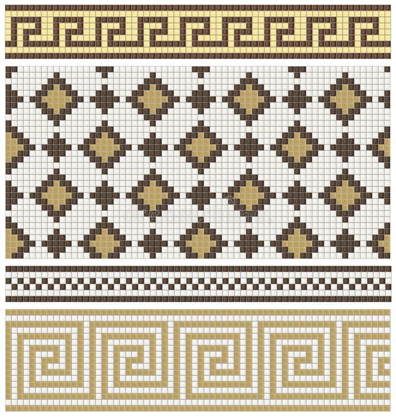 Bezszwowi mozaika fryzy, wystroje i royalty ilustracja