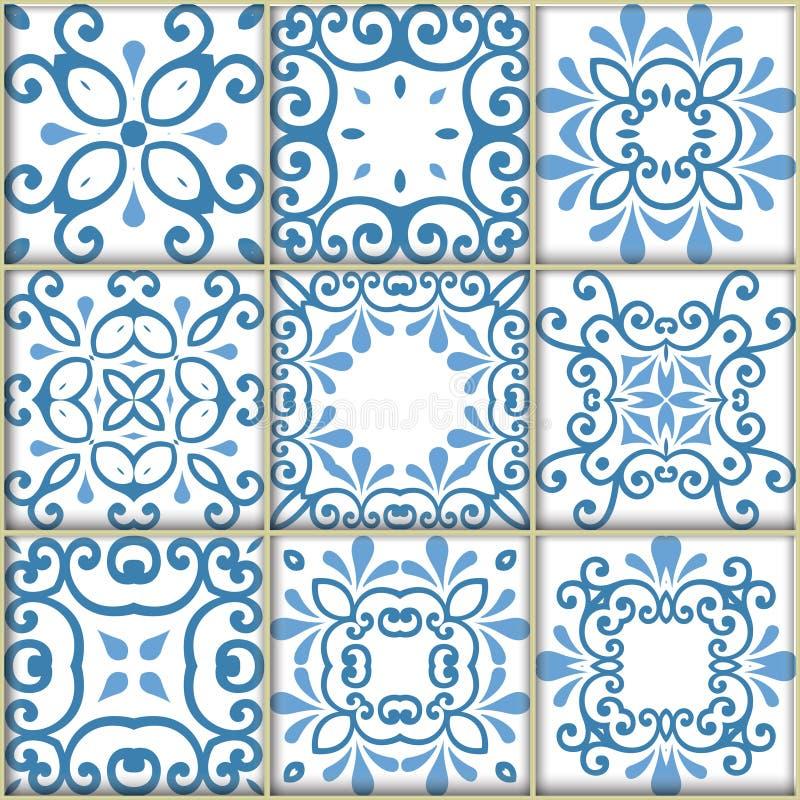 Bezszwowi ornamentacyjni dachówkowi tła ilustracji