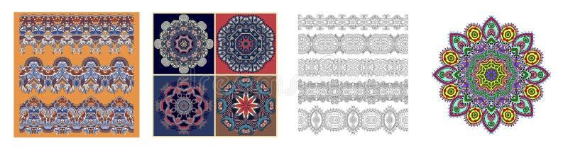 Bezszwowi ornamentacyjni kwieciści lampasy w indyjskim kalamkari projektują ilustracja wektor