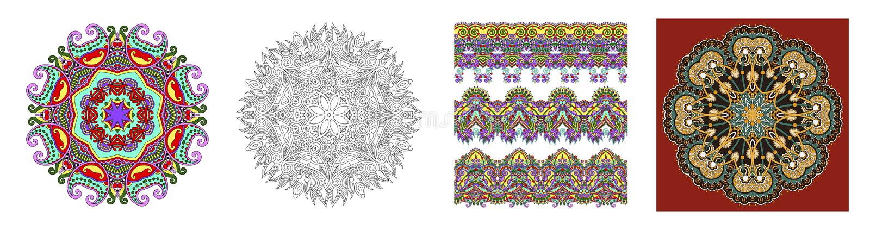 Bezszwowi ornamentacyjni kwieciści lampasy w indyjskim kalamkari projektują royalty ilustracja