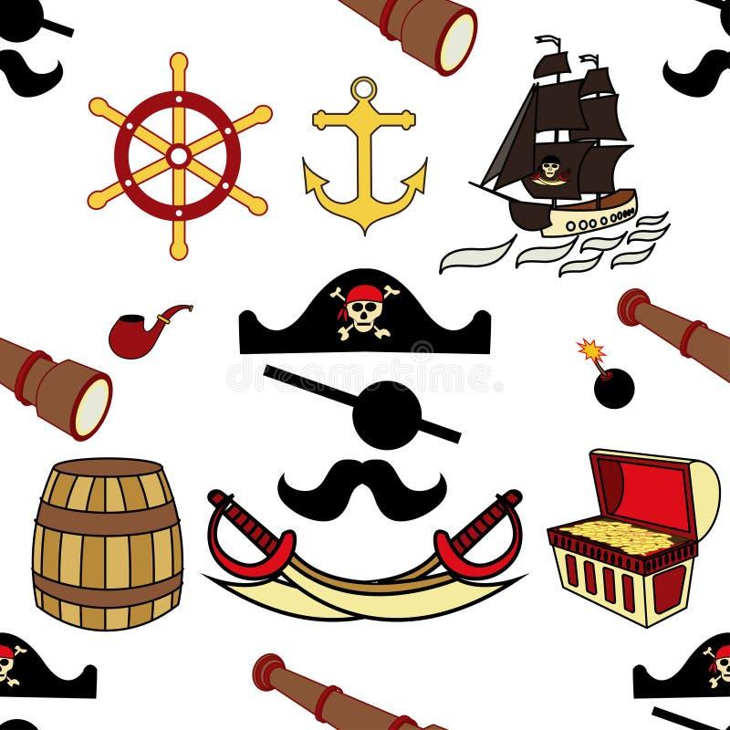 Bezszwowi piratów kordziki, kotwica, kierownica, mina lądowa, teleskop, statek z czerń żaglami, kapelusz, czaszka i kości, baryłk ilustracji