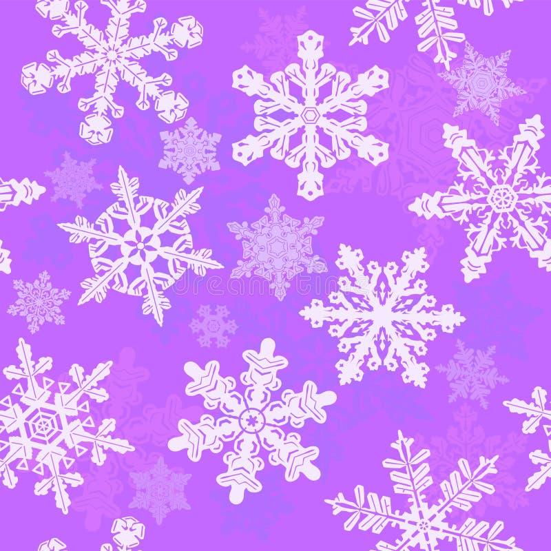 Bezszwowi purpurowi płatek śniegu ilustracji