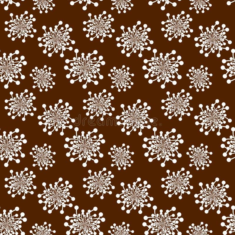 Bezszwowi retro kwiaty nad brązem ilustracja wektor