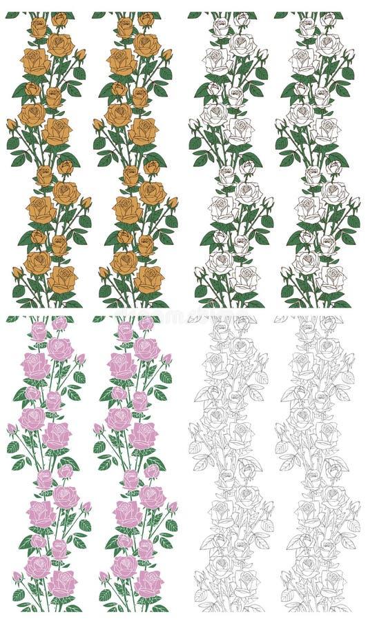 Bezszwowi tła z różami na bielu royalty ilustracja