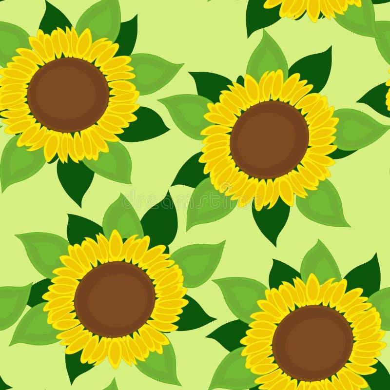bezszwowi tło słoneczniki royalty ilustracja