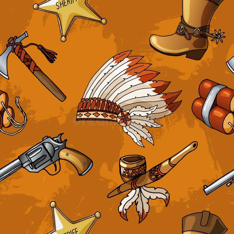 Bezszwowi wektorowi kowboje i hindusi deseniują chłopiec dzieciaka tekstylnego projekt royalty ilustracja