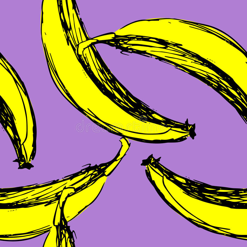 Bezszwowi wektorowi tło banany royalty ilustracja