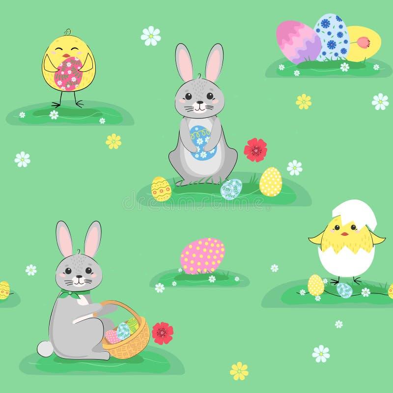 Bezszwowi Wielkanocni króliki, kurczaki i jajka, deseniują, tło royalty ilustracja