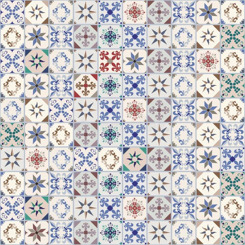 Bezszwowi wzór hydrauliczne płytki, typowy Hiszpania, Włochy i Portugalia, zdjęcie royalty free