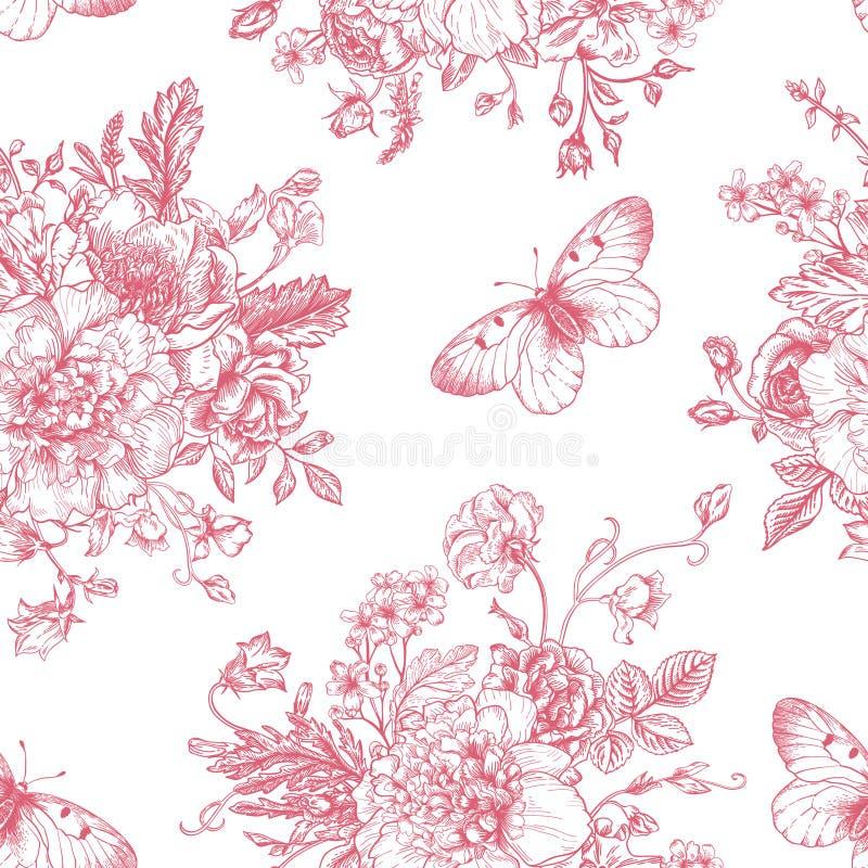 Bezszwowi wzorów kwiaty, motyle i royalty ilustracja