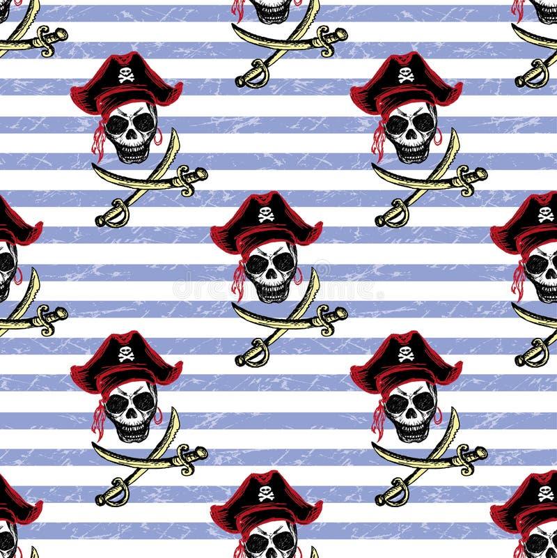 Bezszwowi wzorów piraci, ręka rysunek ilustracji
