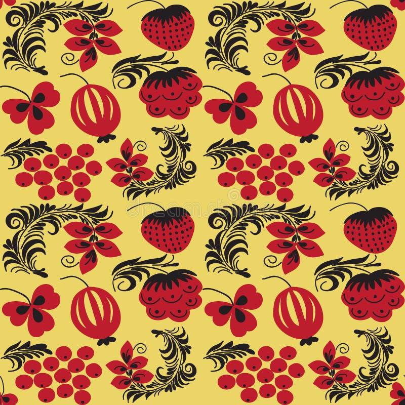 Download Bezszwowi Wzory W Tradycyjnym Rosjanina Stylu Hohloma Ilustracja Wektor - Ilustracja złożonej z dekoruje, ziele: 57654949