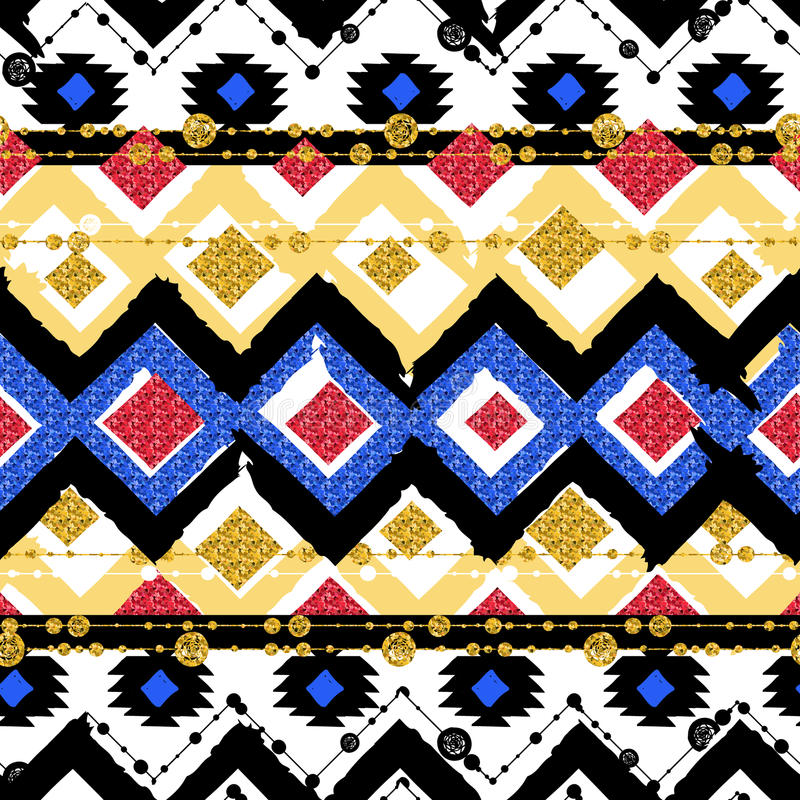 Bezszwowi wzory z błękitnym, czarny, złocisty, zygzag wykładają ilustracji