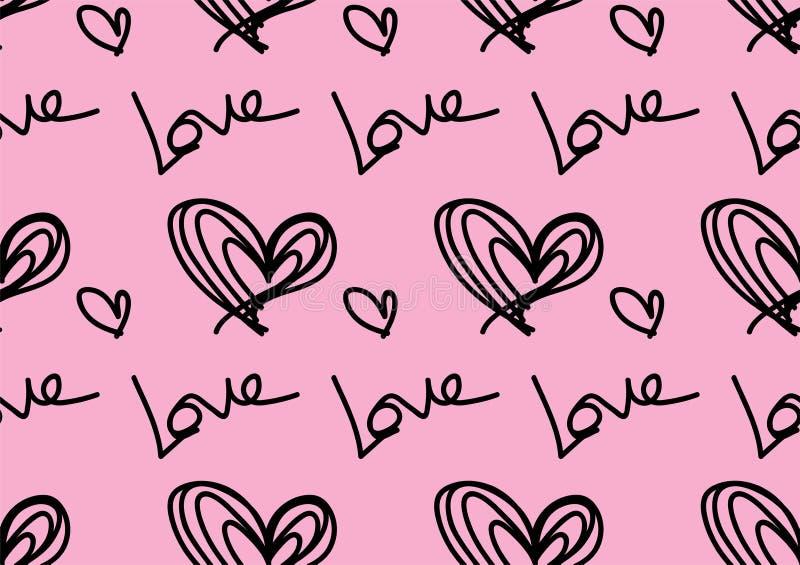 Bezszwowi wzory z czarnymi sercami, miłości tło, kierowy kształta wektor, valentines dzień, tekstura, płótno, ślubna tapeta, papi royalty ilustracja