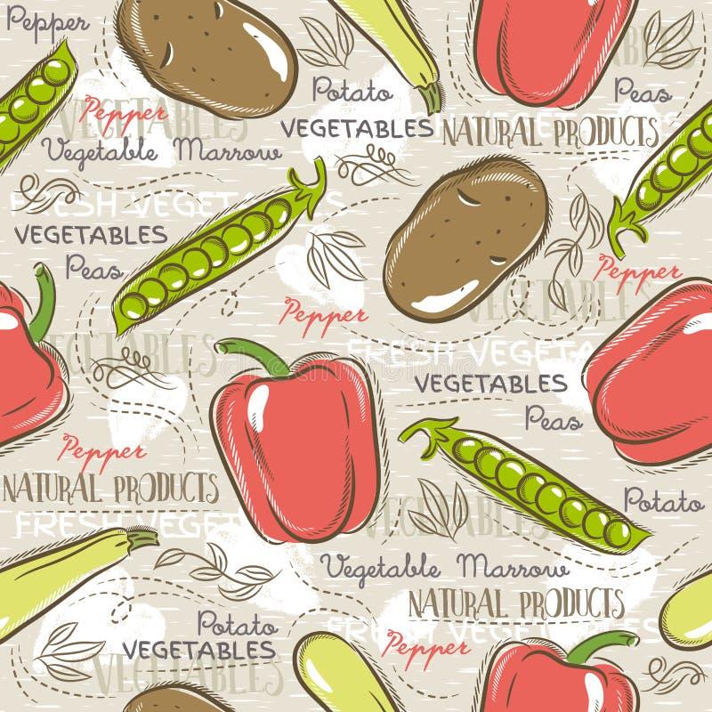 Bezszwowi wzory z grulą, pieprz, marchewka ilustracja wektor