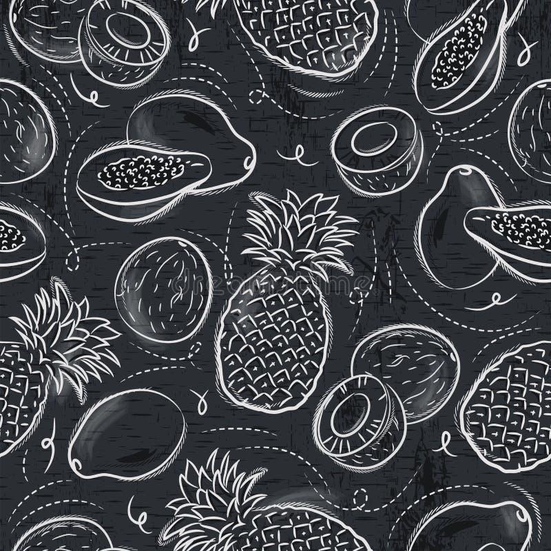 Bezszwowi wzory z melonowem, koksem i ananasem na grunge b, royalty ilustracja