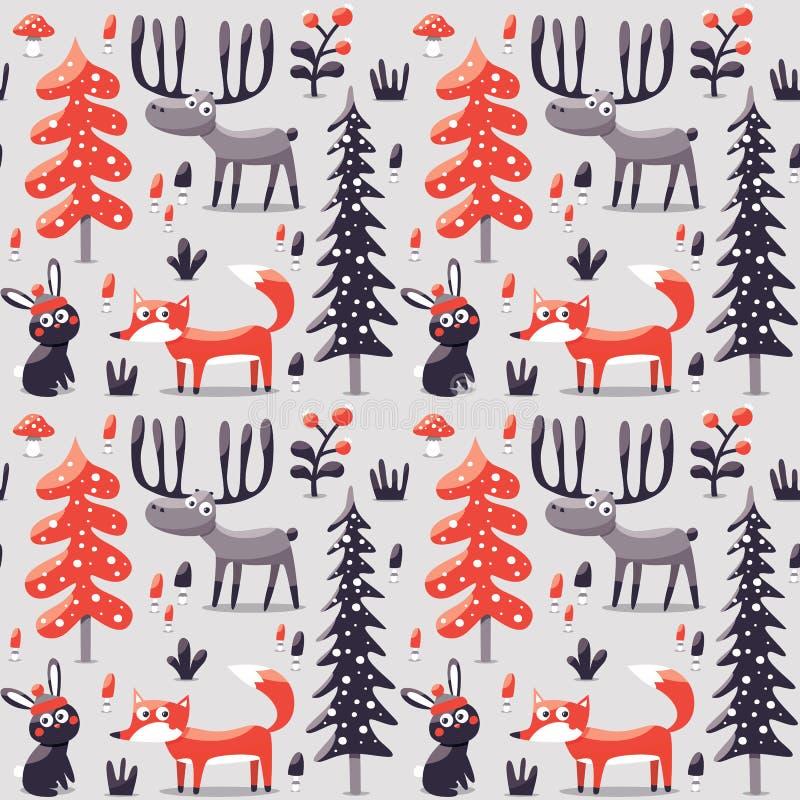 Bezszwowi zim boże narodzenia deseniowy lis, królik, pieczarka, łoś amerykański, krzaki, rośliny, śnieg, drzewo royalty ilustracja