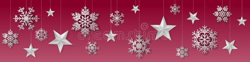 Bezszwowi zim boże narodzenia wektorowi z lukullusowym obwieszenia srebrem barwili płatek śniegu i gwiazdy na czerwonym tle ilustracji