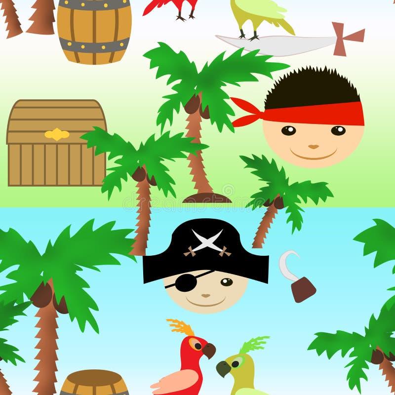 Bezszwowy żołnierz piechoty morskiej wzór z małymi piratami dla karta druków przyjęcia urodzinowego royalty ilustracja