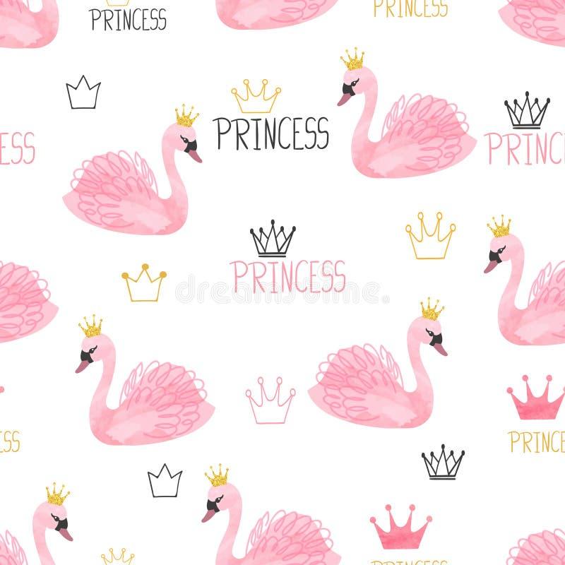 Bezszwowy łabędzi princess wzór Wektorowa akwareli ilustracja ilustracja wektor