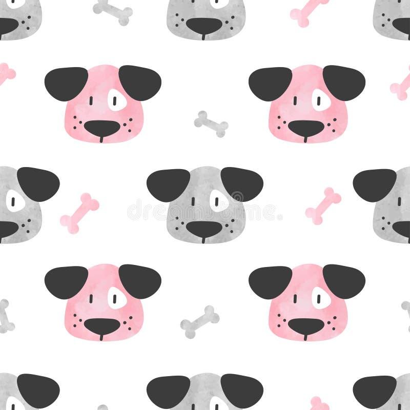 Bezszwowy śliczny psa wzór Wektorowy tło z akwarela szczeniakiem ilustracja wektor