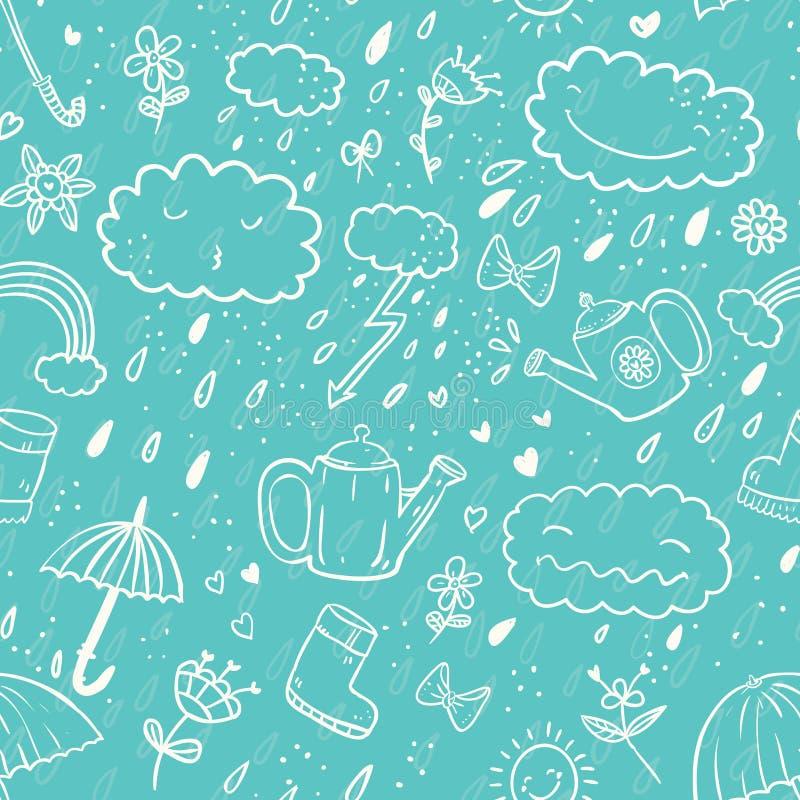 Bezszwowy śliczny remis kreskówki stylu wzór z parasolem, suwaczek, chmura, gumowy but, kropla, łęk, podlewanie puszka royalty ilustracja