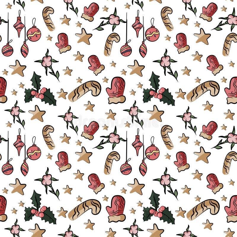 Bezszwowy śliczny tło z Santa w wektorze royalty ilustracja