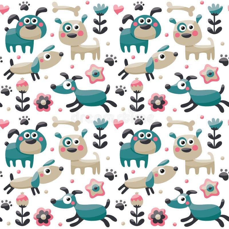 Bezszwowy śliczny wzór robić z psem, ptaki, kwiaty, łapa, ślad, rośliny, jagody royalty ilustracja