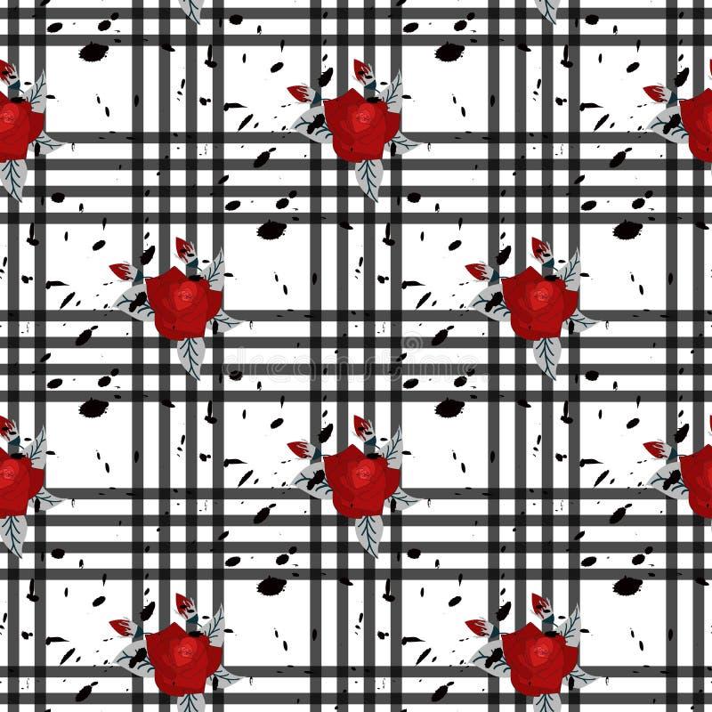 Bezszwowy śliczny wzór w ładnych kwiatach Złożona narzuta Kwieciści przygotowania na tartanu tle Dla tkaniny ilustracji