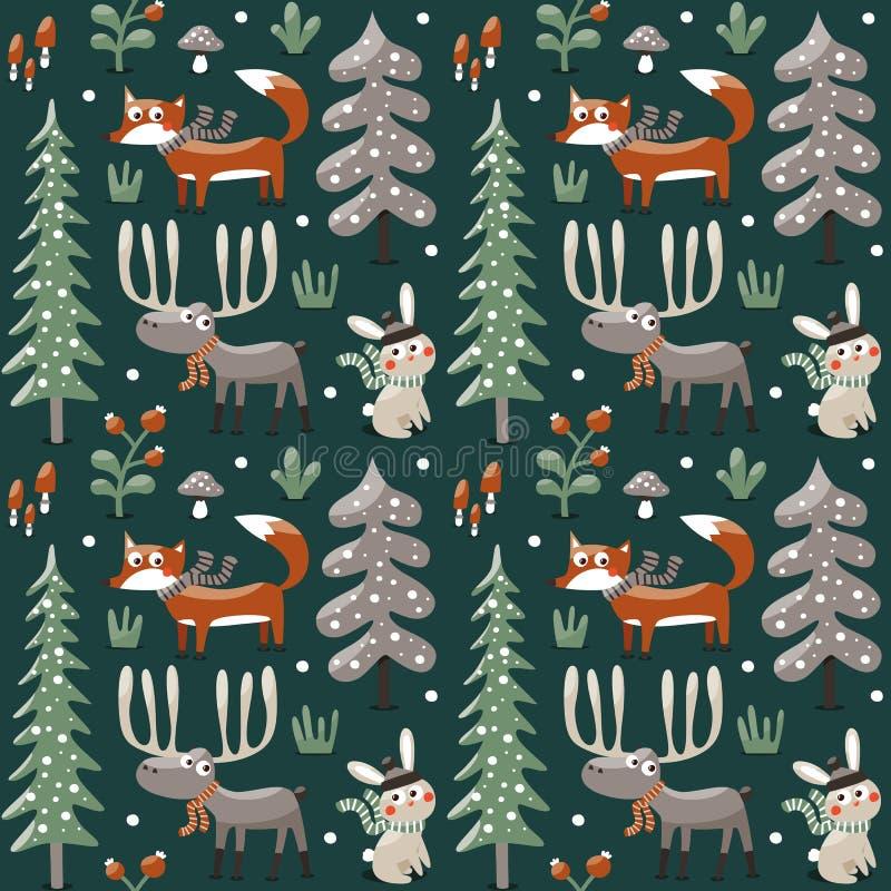 Bezszwowy śliczny zim bożych narodzeń wzór robić z lisem, królik, pieczarka, łoś amerykański, krzaki, rośliny, śnieg, drzewo royalty ilustracja