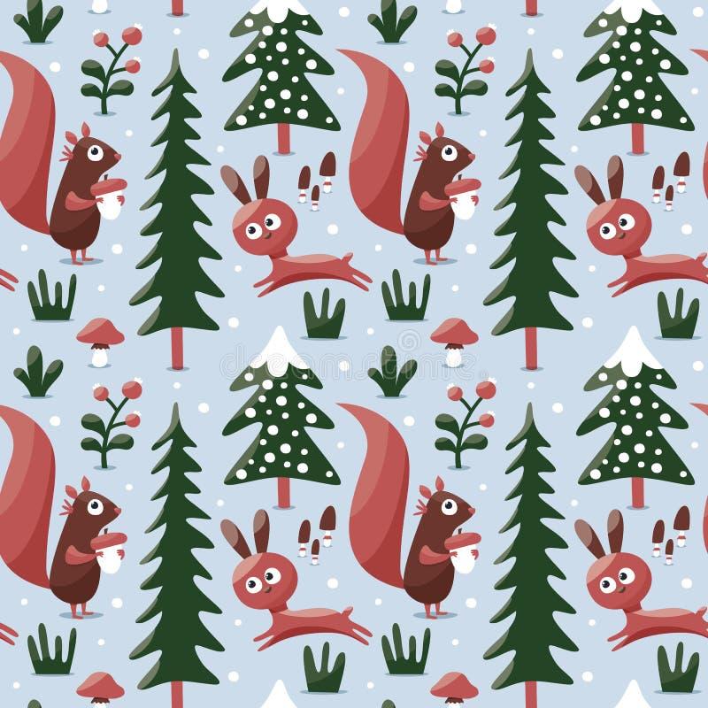 Bezszwowy śliczny zima wzór robić z wiewiórką, królik, pieczarka, krzaki, rośliny, śnieg, drzewo ilustracja wektor