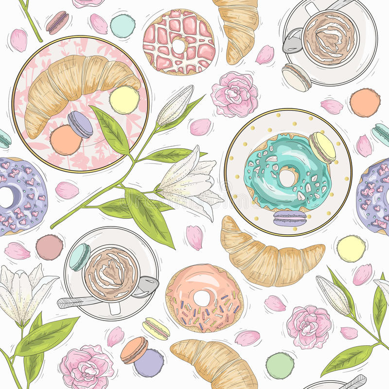Bezszwowy śniadanie wzór z kwiatami, ciastami i kawą, royalty ilustracja