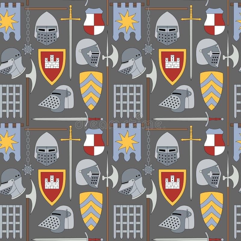 Bezszwowy średniowieczny wzór liczba jeden ilustracja wektor
