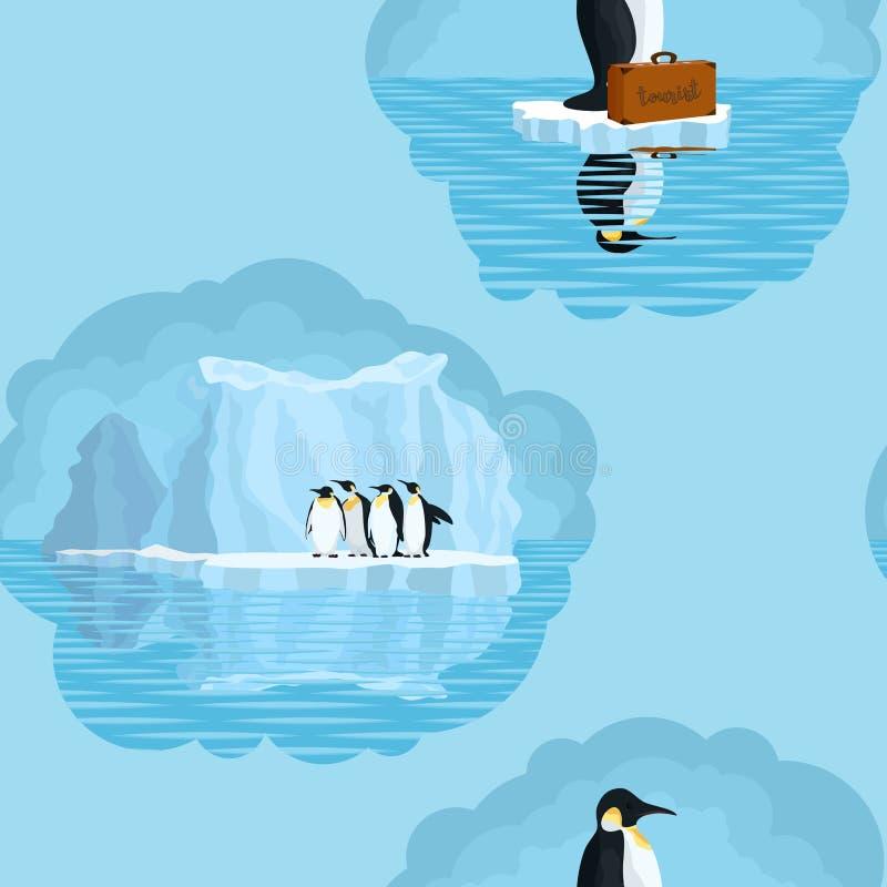 Bezszwowy światło wzór z pingwinami i śniegów lodowami obraz stock