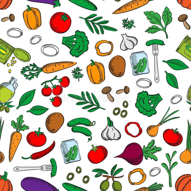 Bezszwowy świeży i kiszony warzywo wzór ilustracja wektor