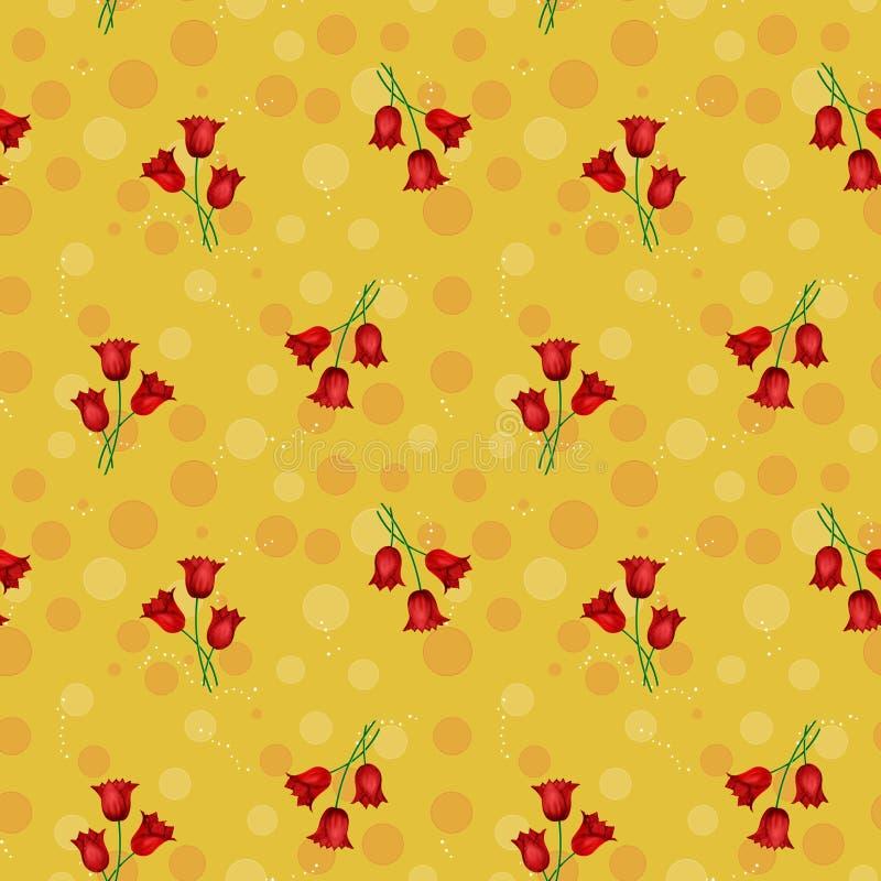 Bezszwowy żółty abstrakta wzór z okręgami i czerwień tulipanami, il ilustracji