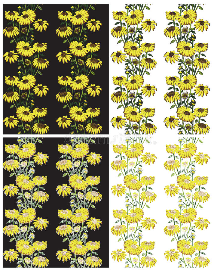 Bezszwowy żółty kwiecisty tło ilustracji
