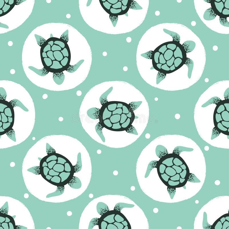 Bezszwowy żółwia wzór Wektoru kropkowany t?o royalty ilustracja